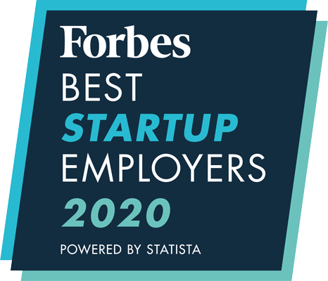 Badge: Forbes Best Startup Employers 2020